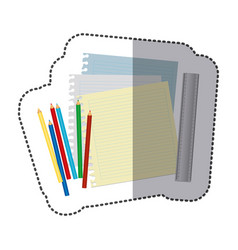 color pencils color notebook and rule icon vector image