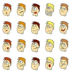 emotions in cartoon faces of boys vector image vector image