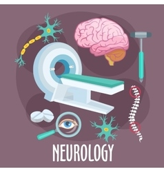 Neurology flat symbol with brain research icons vector image vector image