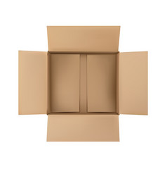 Open plain brown blank cardboard box isolated on vector