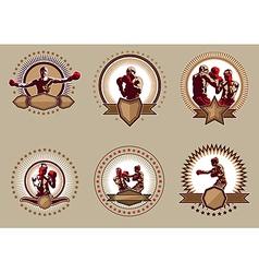 Set of six circular boxing icons or emblems vector image vector image