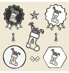 christmas sock presents gifts vintage symbol vector image vector image