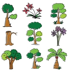 Doodle of tree flower and wood vector