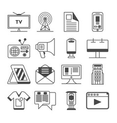 media and advertisement icon set vector image vector image