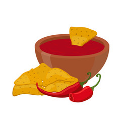 mexican nachos chips cartoon flat style vector image