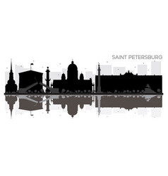 saint petersburg city skyline black and white vector image