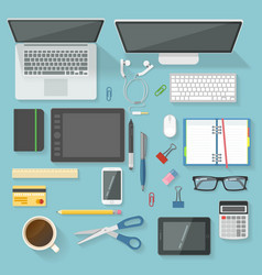 workspace elements top view set vector image