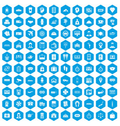 100 paying money icons set blue vector