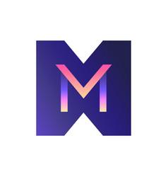 3d gradient logo letter m vector image