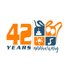 42 year gift box ribbon anniversa vector image
