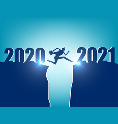 A business person jumping to new year 2021 vector