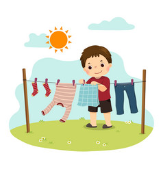 a little boy hanging laundry on backyard vector image