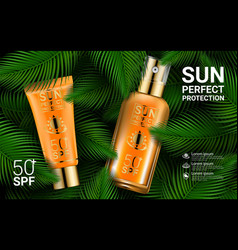 Advertising products for sunburn sunscreen spray vector