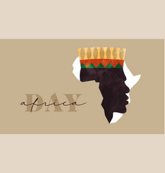 Africa day black man african map banner vector