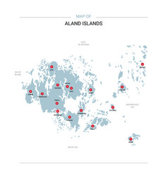 aland islands map with red pin vector image