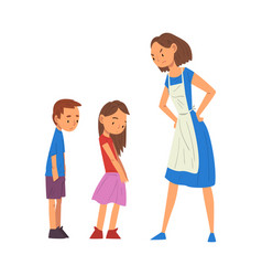 angry mother scolding her naughty son and daughter vector image