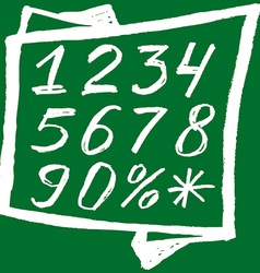 Back to school Background White numbers on a green vector image
