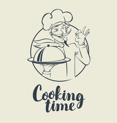 Banner with words cooking time and winking chef vector