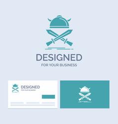 battle emblem viking warrior swords business logo vector image
