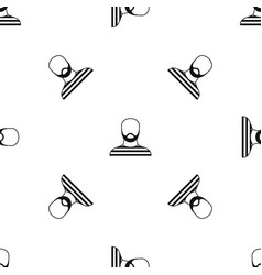 bearded man in prison garb pattern seamless black vector image
