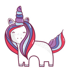 beautiful unicorn with horn and mane long vector image