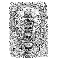 black and white engraved scary skulls vector image