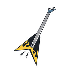 black with yellow flame electric guitar on white vector image