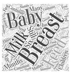 Breast feeding toddlers word cloud concept vector
