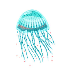 Bright blue textured jellyfish with tentacles and vector