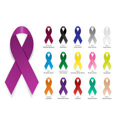 Cancer ribbon realistic 3d awareness vector