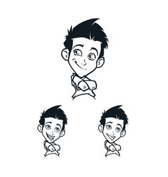 cartoon boys facial emotion vector image