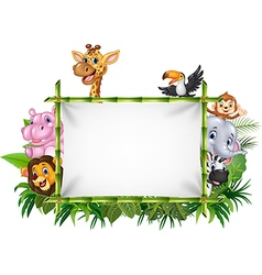 Cartoon funny african animals with blank sign vector image