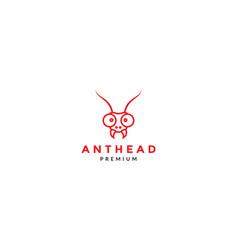 Cartoon lines head ant red logo icon design vector