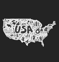 cartoon map usa vector image