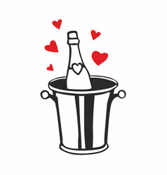 Champagne bottle in ice bucket with hearts vector