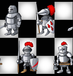 chess board with cartoon medieval knights seamless vector image