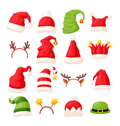 christmas hats and head accessories vector image