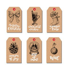 Christmas vintage gift tags set with lettering vector
