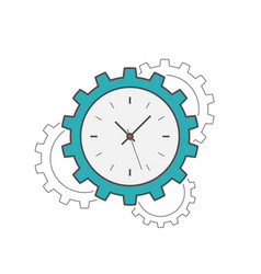 clock gear flat line icon vector image