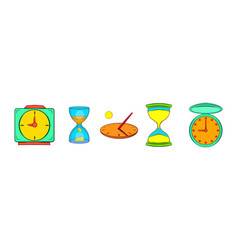 clock icon set cartoon style vector image
