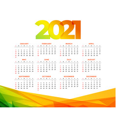 Colorful 2021 calendar design geometric template vector