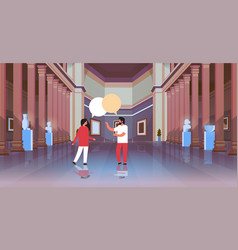 couple visitors in classic historic museum art vector image