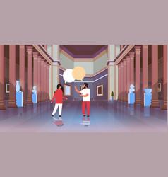 Couple visitors in classic historic museum art vector