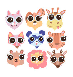 cute animal faces with big eyes a set vector image