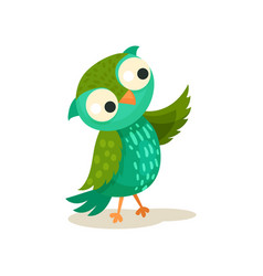 cute colorcful owlet pointing with wing sweet owl vector image