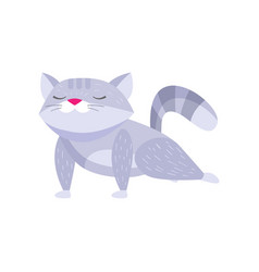 Cute raccoon doing front plank and meditating vector