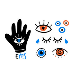 Decorative eyes icons evil eyes symbols vector