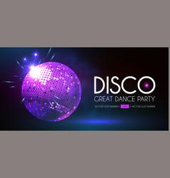 disco party flyer templatr with mirror ball and vector image