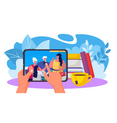 Family video communication hand hold tablet with vector