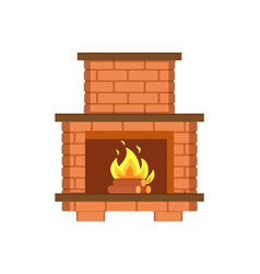 Fireplace paved with bricks shelf for items icon vector